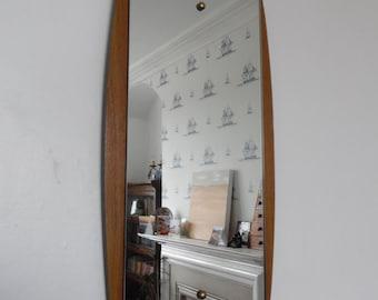 Mid century modern mirror, teak veneered wood frame, atomic