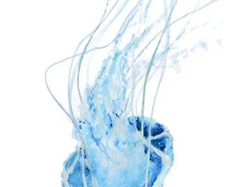 Jellyfish, blue, watercolour, watercolor, beach lover gift, beach decor, beach house decor, beach art, sea life, coastal art, bathroom art