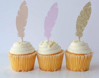 Feather Cupcake Toppers - Boho Theme Party - Boho Cupcake Toppers - Aztec Party - Cupcake Toppers
