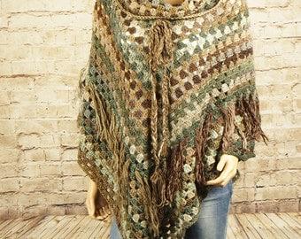 Wool poncho - crochet poncho - women's clothing - warm handmade poncho - gift for her - wool cardigan - wool clothing - Christmas gift