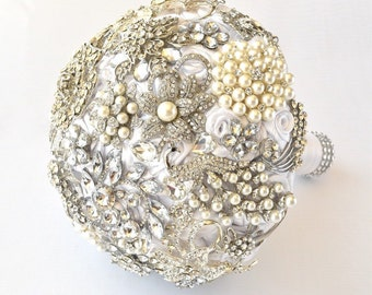 White Silver Brooch Bouquet Wedding Fabric Flower Bouquet Full Price, Ready to Ship!