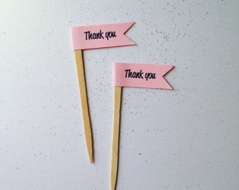 Thank you flag cupcake topper . Wedding . Bridal shower . Baby shower . Birthday decor . Flag cupcake toppers