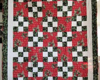 Nine Patch Christmas Lap Quilt