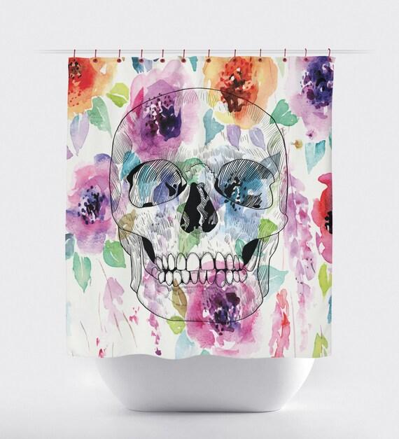 sugar skull watercolor shower curtainsbathroom shower. Black Bedroom Furniture Sets. Home Design Ideas