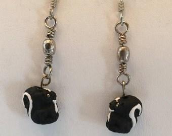 Sterling Silver Ceramic Skunk Pierced  Earrings