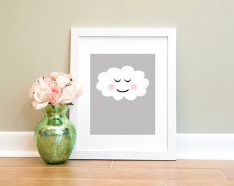 Smile Cloud Print, Nursery Printable, Child Wall Art, Cloud Printable, Printable Art, Nursery Art, Printable Wall Art, Instant Download