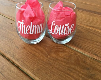 Thelma and Louise Stemless Wine Glass