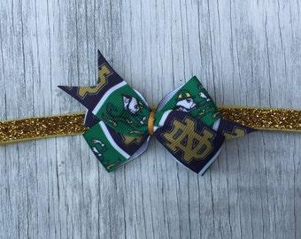 Notre Dame Hair Bow // Notre Dame Baby Headband // Notre Dame Bow Toddler Clip // Fighting Irish Bow // Irish Bow // ND Hair Bow // Go Irish