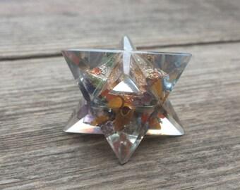 ORGONE 7 CHAKRA Gemstone Merkaba Star Orgonite