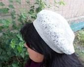 beret crocheted in boho style beret crocheted for autumn grey beret beret cotton beret for girls beret for womens handmade beret