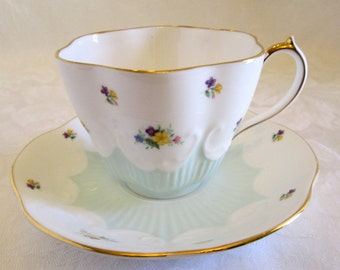 Queen Anne Mint Green and White Floral Bone China Tea Cup- England