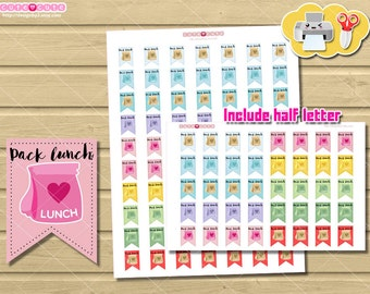 Pack lunch Printable Planner Stickers for Erin condren - happy planner - cute but functional ...