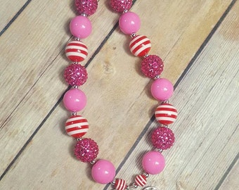 Minnie Mouse Inspired Valentine's Day Bubblegum Necklace RTS