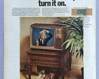 1972 Emerson Permacolor Television Print Ad - Color TV