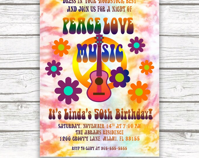 Hippie Birthday invitation, Tie Dye Invitation, 60s Birthday Party Invitation, Woodstock Invitation, Peace Love Music Invite Printable