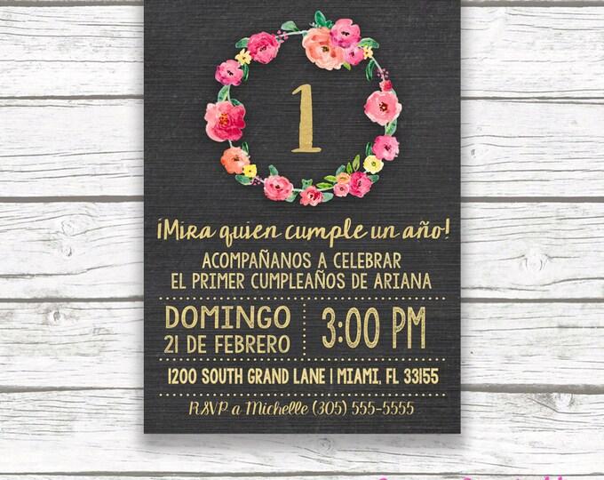 Spanish Chalkboard Gold Foil Pink First 1st Birthday Invitation, Invitación Primer Cumpleaños, Girl Niña Printable Invitation