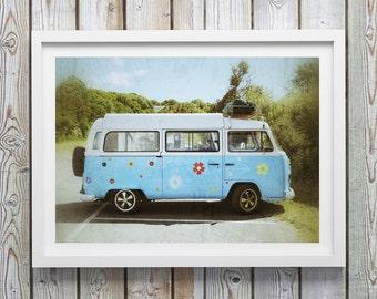 Volkswagen Bus, VW, Car Photography, Volkswagen Van, Camper Van, Retro Car Photography, Hippy, Travel photography, Teal home decor, Wall art