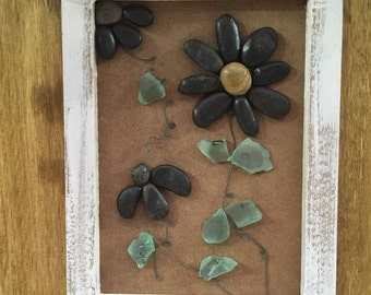 Pebble Art Mixed Media Collages- FLOWERS