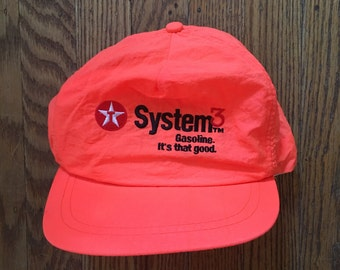 Vintage 90's Neon Texaco Gasoline Snapback Hat Baseball Cap