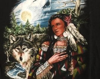 Vintage 90s Wolf Wolves Tshirt - Alaska Wolf Wolves Lady Tee - Vintage Tshirt - Large