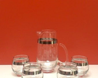 Platinum Silver Band Martini Pitcher and Glasses, Set of 4