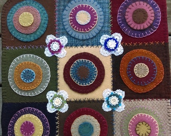 Wool Penny Rug Table Mat, Primitive, Home Decor