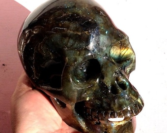 """LARGE 5.25"""" Mystical Realistic Labradorite Crystal Skull SPIRIT WORLD Esoteric Knowledge Divination Blue Gold Flash Intuition Psychic Work"""