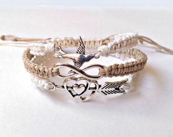 Boho Wrap Bracelet -Meaningful Bracelet, Teen Girl Bracelet, Gift For Teen, Adjustable Bracelet, Hemp Bracelet, Boho Bracelet, Bird Bracelet