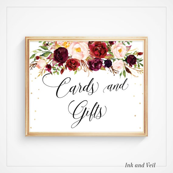 Wedding Gift Card Sign : Cards and Gifts Sign, Wedding Reception Signage, Wedding Signs, Table ...
