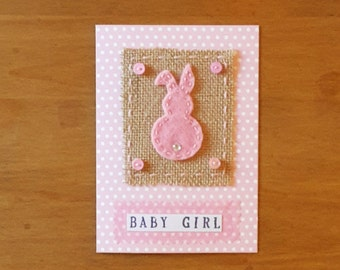 New Baby Girl Bunny Card