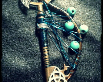 key necklace steampunk leaf,turquoise and triskell