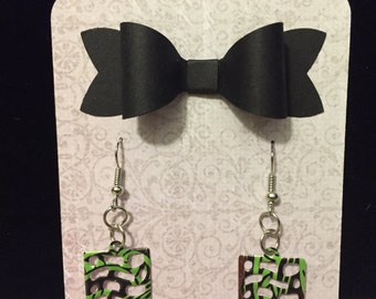 Recycled Soda Can Earrings- rectangle pattern