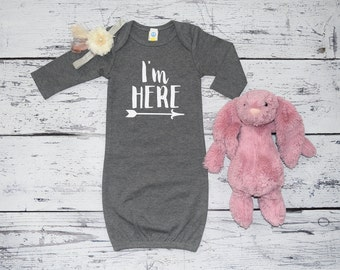 Infant Gown, Take Home Outfit, New Mom Hospital Gift, Infant Coming Home Outfit, Baby Girl Sleeper, I'm Here Infant Gown, Baby Girl,  #001