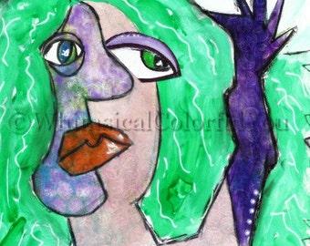 La Cage aux Folles Art Card, Surrealist Greeting Card, All Ocassion Card