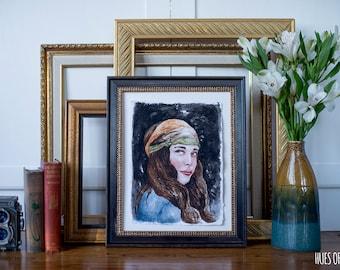 "ORIGINAL 9x12"" Watercolor Painting ""Gianna"", home decor"