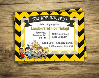 Charlie Brown Birthday Party Invitation - Peanuts Movie, Birthday Invite - Snoopy Gang Digital File, Printable
