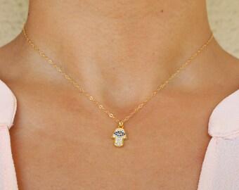 Evil Eye Necklace, Hamsa Necklace, Protection Necklace, Hamsa Necklace, Gold Evil Eye Necklace, Gold Hamsa Necklace, Hamsa Hand Necklace