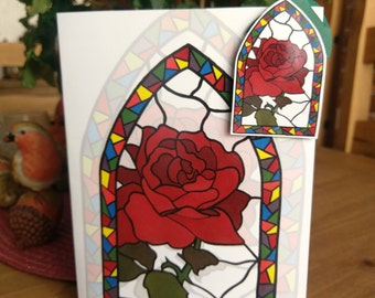 Rose Window Greeting Card + Matching Magnet (Blank)