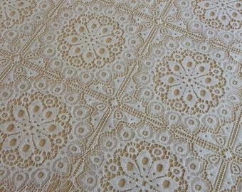 Ivory lace fabric, Wedding lace, lingerie lace, ivory alencon lace fabric, geometric pattern, vintage lace,  B00113