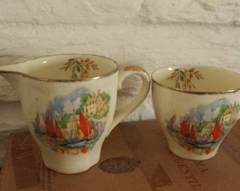 Jug and cup/vintage seaside themed/possibly cardigan bay