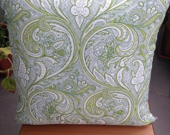 Decorative Throw Pillow, White and Green Ornaments, Cushion, Throw Pillow, Couch Bed Pillow