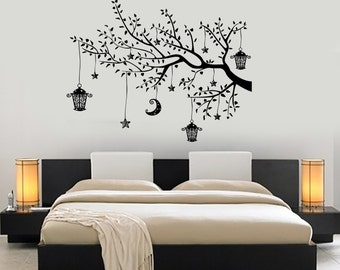 Wall Decal Branch Tree Moon Lantern For Bedroom Vinyl Sticker Mural Art 1446dz