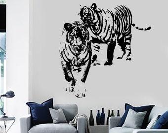 Wall Vinyl Sticker Tigers Family Romantic Love Decor For Living Room 1460dz