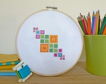 Geometric Squares, Modern Cross Stitch Pattern PDF, Instant Download, Geometric Cross Stitch, Beginner Cross Stitch, Modern Embroidery