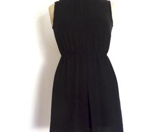 Japanese vintage dress little black dress romantic dress chiffon minidress size XS