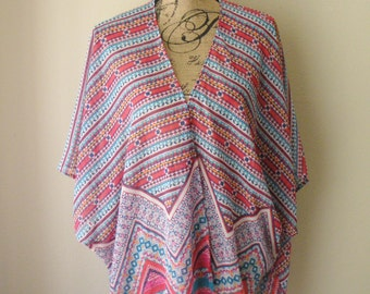 Sheer Multicolored Striped Kimono Cardigan
