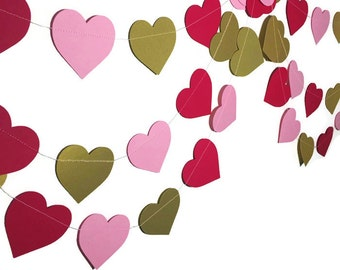 Party Decorations - Valentine's Day Decor - Valentine's Day Garland - Gold Garland - Red Pink Gold Heart Garland - Heart Garland - 10 Feet