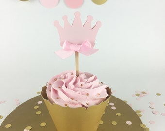 Party Decorations - First Birthday - Birthday Cupcake Toppers - Princess First Birthday-Princess Party-Pink Crown Cupcake Topper - Set of 12