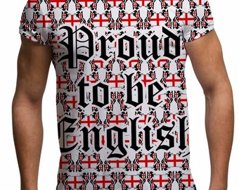 Men's Proud to Be English T Shirt England Flag St Georges Day T Shirts