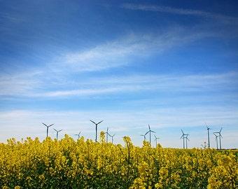 Blue Sky Horizon Print - Blue Sky, Landscape Print, Landscape Photography, Wind Turbines - Blue Sky Photography Print
